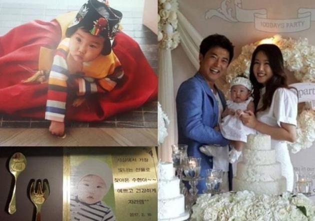 安在旭公布宝宝身穿韩服的照片